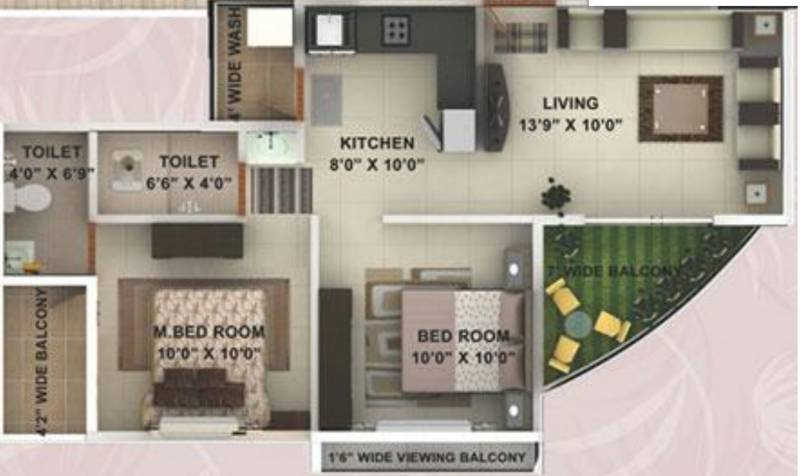 Kwality Enclave (2BHK+2T (888 sq ft) 888 sq ft)