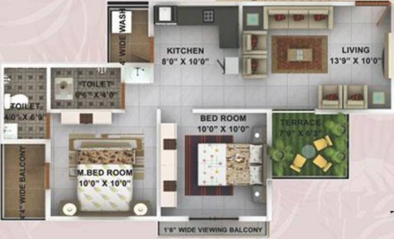 Kwality Enclave (2BHK+2T (882 sq ft) 882 sq ft)