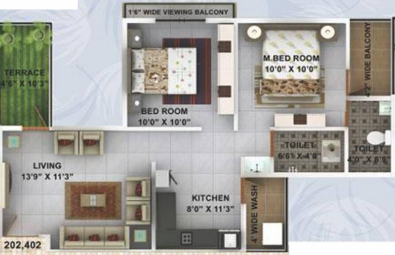 Kwality Enclave (2BHK+2T (929 sq ft) 929 sq ft)