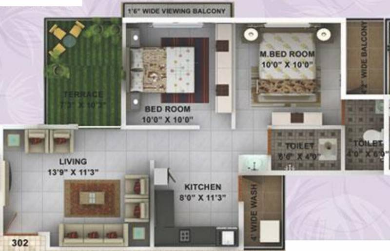 Kwality Enclave (2BHK+2T (959 sq ft) 959 sq ft)