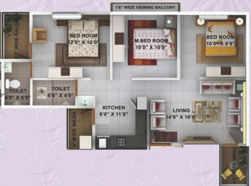Kwality Enclave (3BHK+2T (1,059 sq ft) 1059 sq ft)