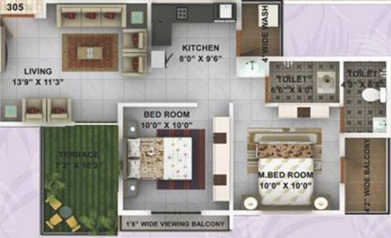Kwality Enclave (2BHK+2T (925 sq ft) 925 sq ft)