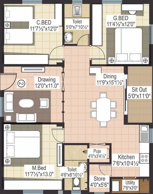 Modi Deepa Dhruva Heights (3BHK+2T (1,480 sq ft)   Pooja Room 1480 sq ft)