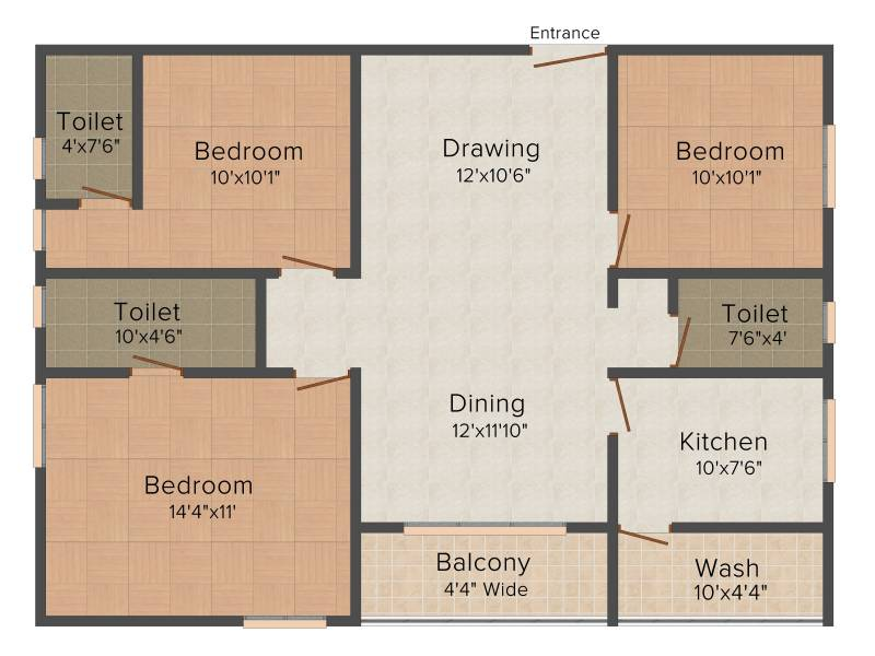 Celebrity Uber Heights (3BHK+3T (1,300 sq ft) 1300 sq ft)