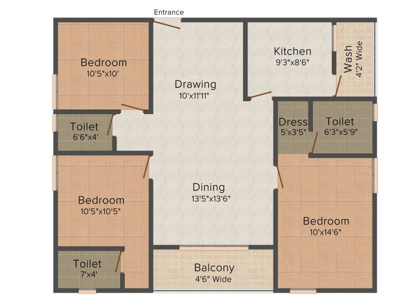 Celebrity Uber Heights (3BHK+3T (1,350 sq ft) 1350 sq ft)