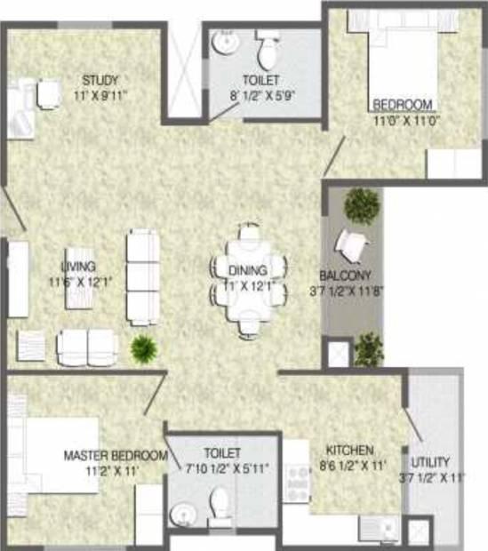 Mana Tropicale (2BHK+2T (1,244 sq ft)   Study Room 1244 sq ft)
