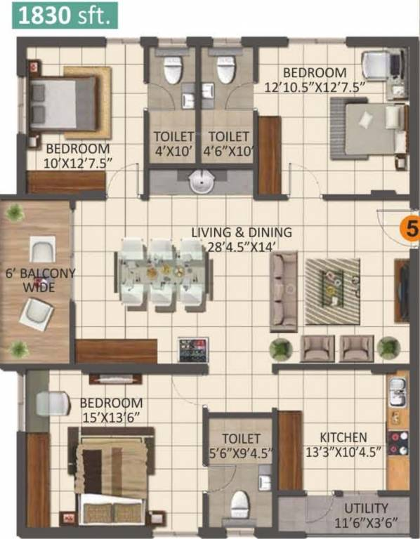 1830 sq ft 3 bhk 3t apartment for sale in anuhar 99 parc for Apartment plans hyderabad