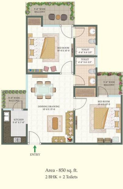 MR Proview Shalimar City (2BHK+2T (850 sq ft) 850 sq ft)