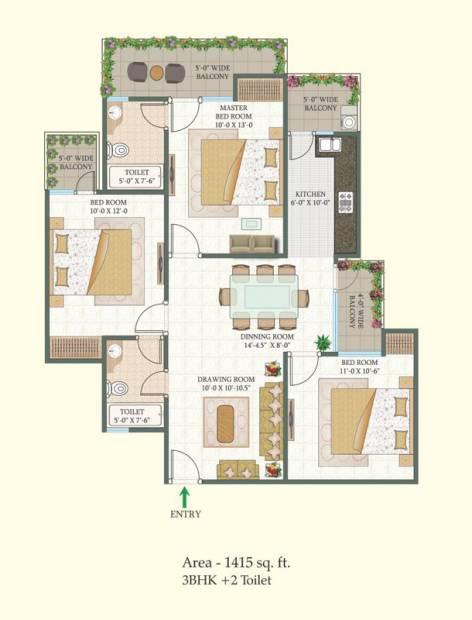 MR Proview Shalimar City (3BHK+2T (1,415 sq ft) 1415 sq ft)