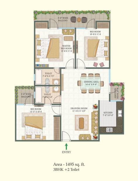 MR Proview Shalimar City (3BHK+2T (1,495 sq ft) 1495 sq ft)