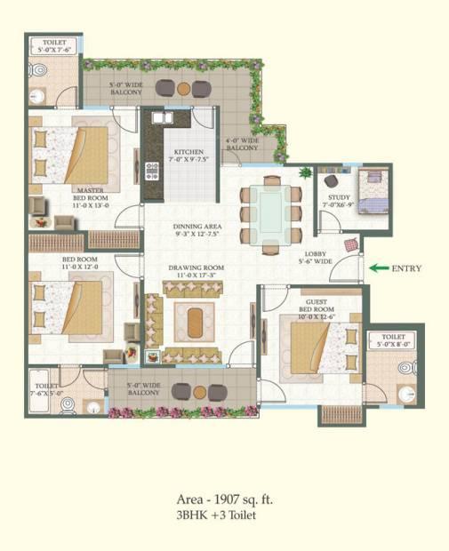 MR Proview Shalimar City (3BHK+3T (1,907 sq ft) 1907 sq ft)