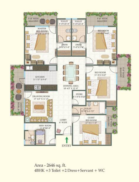 MR Proview Shalimar City (4BHK+3T (2,646 sq ft)   Servant Room 2646 sq ft)