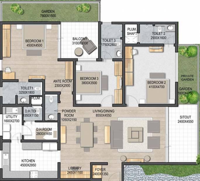 Sobha 25 Richmond (3BHK+4T (2,779 sq ft) + Servant Room 2779 sq ft)