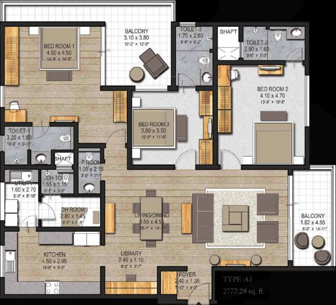 Sobha 25 Richmond (3BHK+4T (2,777 sq ft) + Servant Room 2777 sq ft)