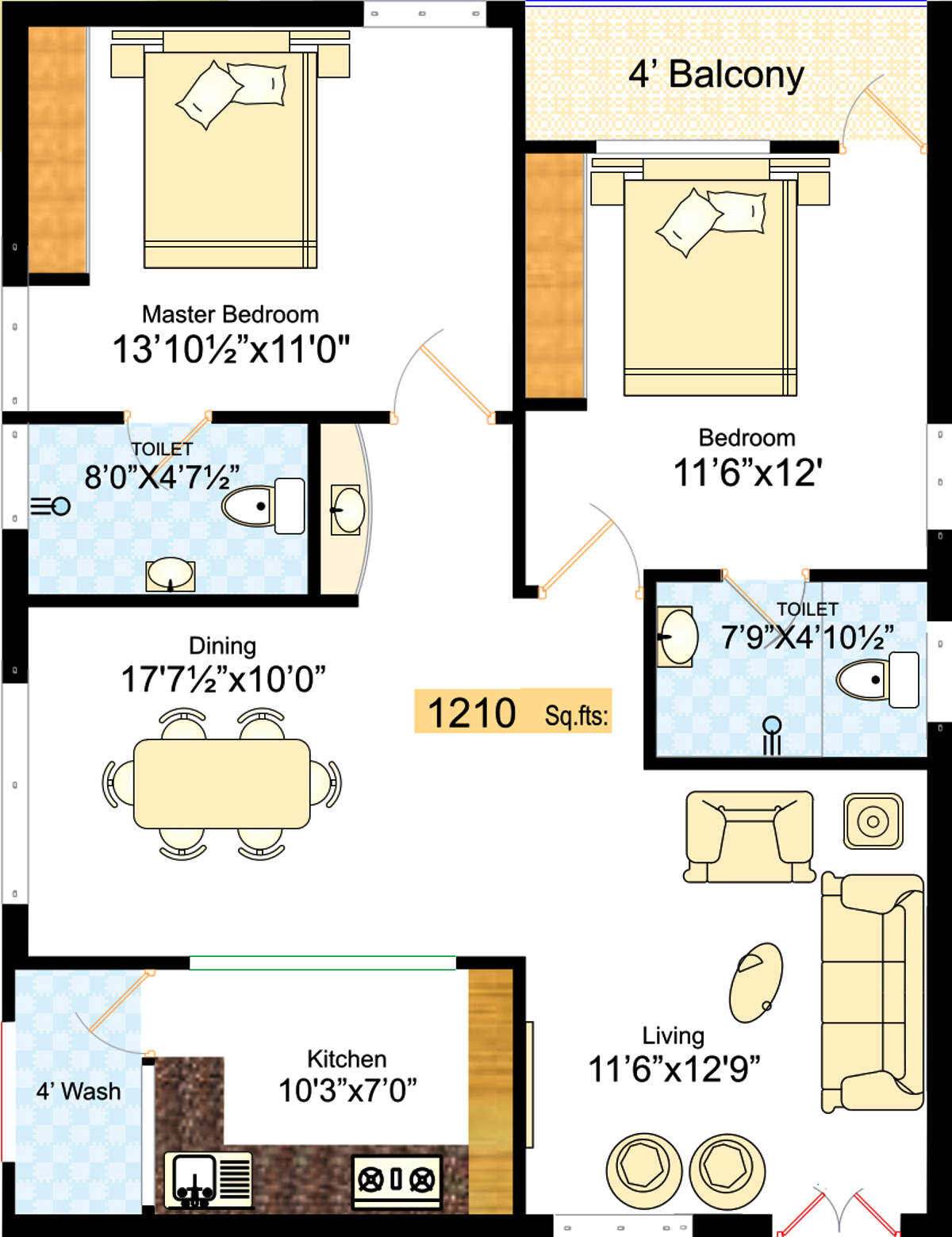 1210 sq ft 2 bhk 2t apartment for sale in navanaami for X2 residency floor plan