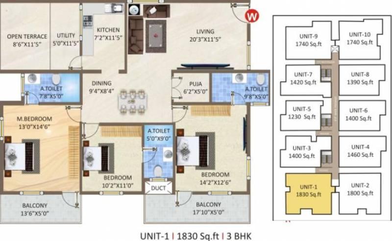 Ashirwad Natures Nest (3BHK+3T (1,830 sq ft)   Pooja Room 1830 sq ft)