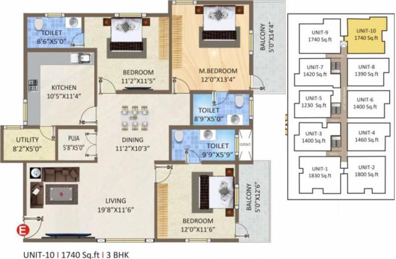 Ashirwad Natures Nest (3BHK+3T (1,740 sq ft)   Pooja Room 1740 sq ft)