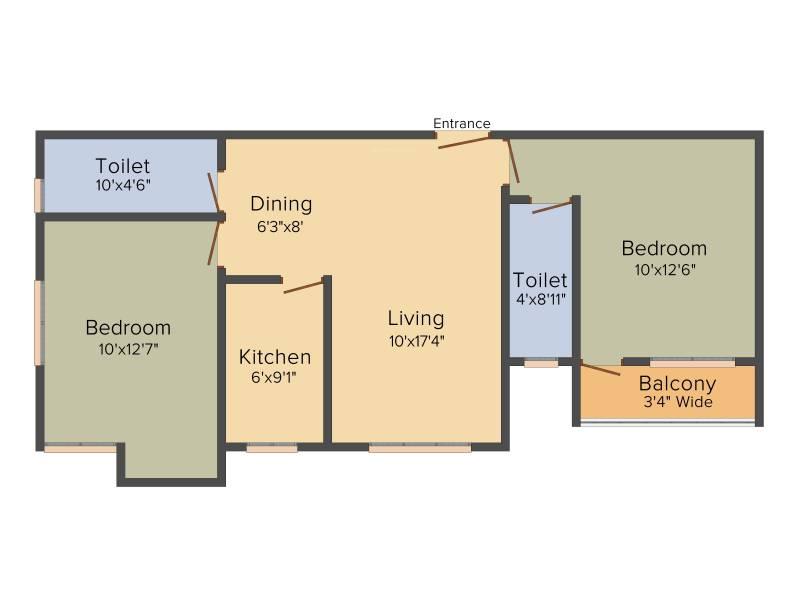 KGC La Casa Greens (2BHK+2T (1,011 sq ft) 1011 sq ft)
