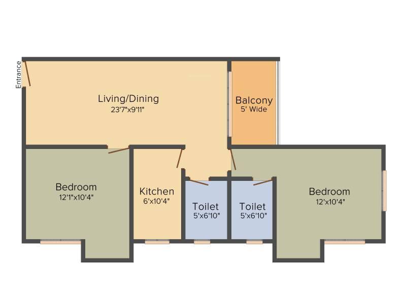 KGC La Casa Greens (2BHK+2T (1,067 sq ft) 1067 sq ft)
