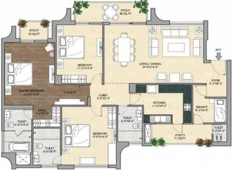 Vipul Aarohan (3BHK+3T (2,370 sq ft)   Servant Room 2370 sq ft)