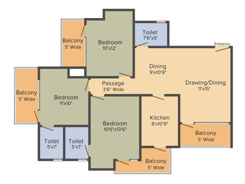 Le Solitairian Solitairian Estate (3BHK+3T (1,425 sq ft) 1425 sq ft)