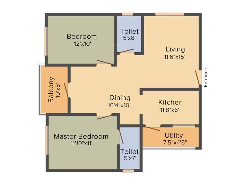 Malibu Rising City (2BHK+2T (1,230 sq ft) + Pooja Room 1230 sq ft)