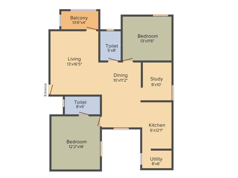 Malibu Rising City (2BHK+2T (1,385 sq ft) + Study Room 1385 sq ft)