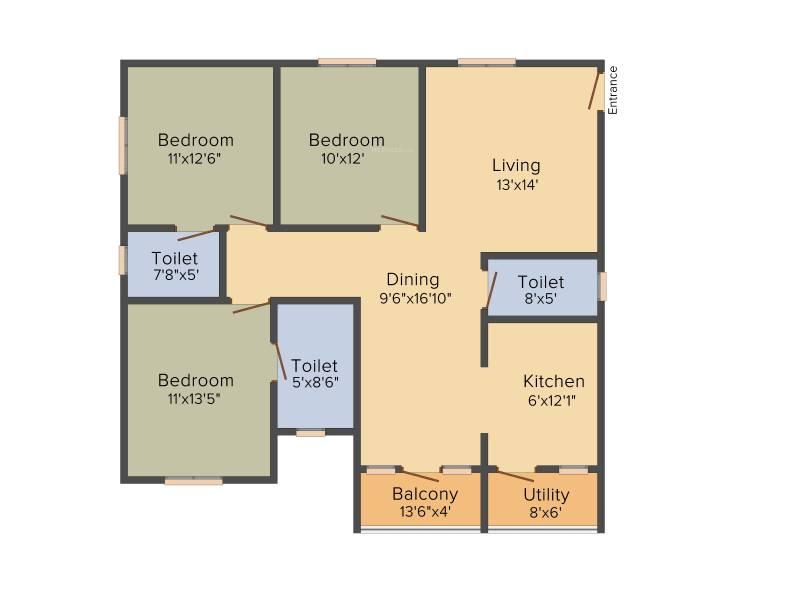 Malibu Rising City (3BHK+3T (1,420 sq ft) 1420 sq ft)
