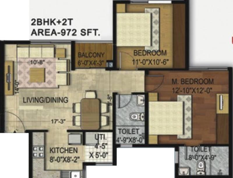 Unishire Elan (2BHK+2T (972 sq ft) 972 sq ft)