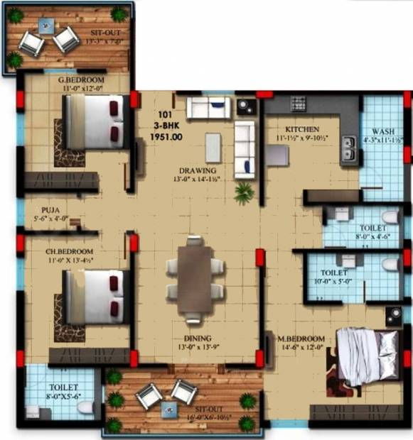 Bhandari Meadow Land (3BHK+3T (1,951 sq ft)   Pooja Room 1951 sq ft)