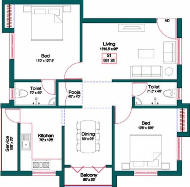 Alankar Sree Krishna Garden (2BHK+2T (991 sq ft)   Pooja Room 991 sq ft)