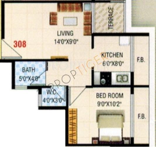 650 sq ft 1 bhk floor plan image kk moreshwar available for 650 sq ft apartment floor plan