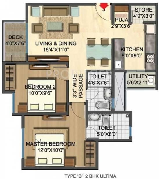 1017 sq ft 2 bhk floor plan image lodha group casa rio for Sq ft prezzo per costruire casa