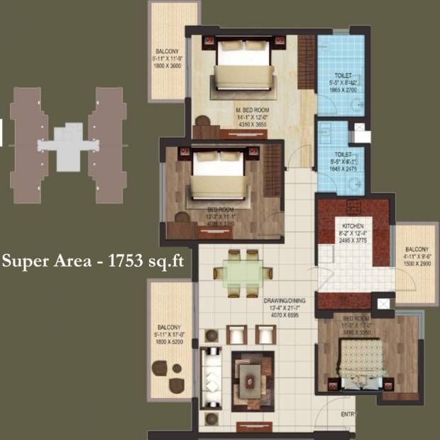 AIPL Club Residences (3BHK+2T (1,753 sq ft) 1753 sq ft)