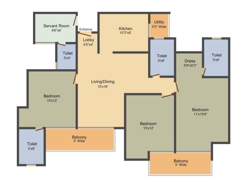 Amrapali Aurum Towers (3BHK+3T (1,620 sq ft) + Servant Room 1620 sq ft)