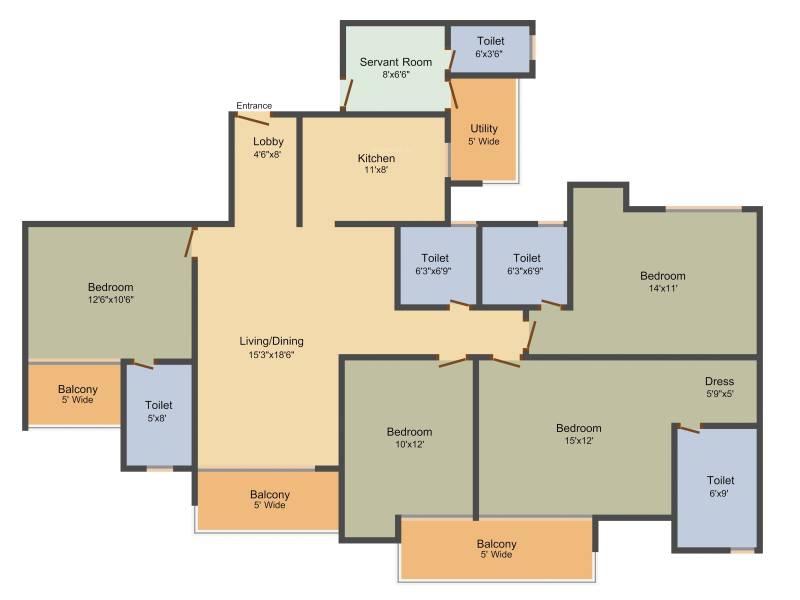 Amrapali Aurum Towers (4BHK+4T (2,135 sq ft) + Servant Room 2135 sq ft)