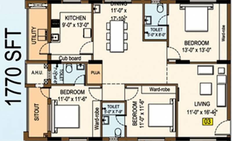 Vaisakhi Skyline (3BHK+3T (1,770 sq ft) + Pooja Room 1770 sq ft)