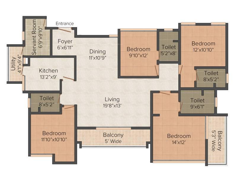 Olympia Opaline Sequel (4BHK+4T (2,343 sq ft) + Servant Room 2343 sq ft)
