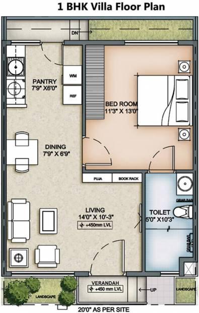 Columbia Hub Villas (1BHK+1T (605 sq ft) 605 sq ft)