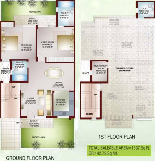 Ansal Carnation Garden (2BHK+3T (1,537 sq ft) + Study Room 1537 sq ft)