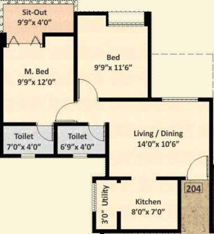 700 sq ft 2 bhk 2t apartment for sale in nyati group