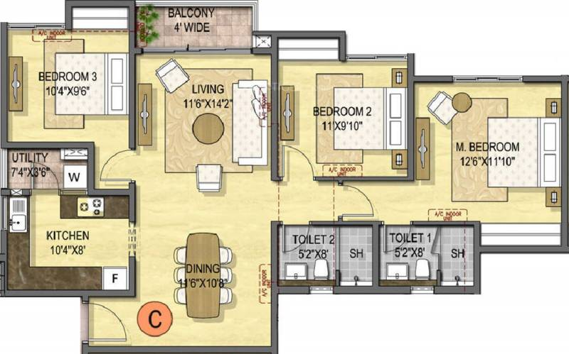 Olympia Opaline Sequel (3BHK+2T (1,384 sq ft) 1384 sq ft)