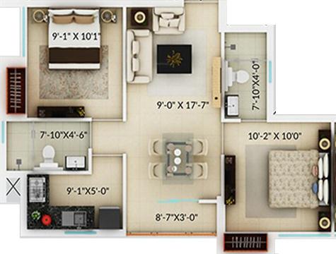 Amaya Amaya Residences (2BHK+2T (802 sq ft) 802 sq ft)