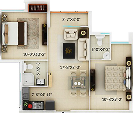 Amaya Amaya Residences (2BHK+1T (732 sq ft) 732 sq ft)