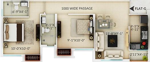 Amaya Amaya Residences (2BHK+2T (819 sq ft) 819 sq ft)