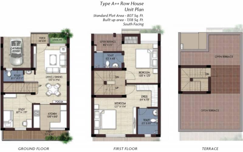 TVS Emerald GreenAcres Villas (2BHK+3T (1,318 sq ft)   Study Room 1318 sq ft)