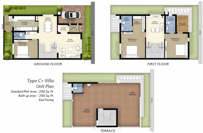 TVS Emerald GreenAcres Villas (3BHK+4T (2,265 sq ft) 2265 sq ft)