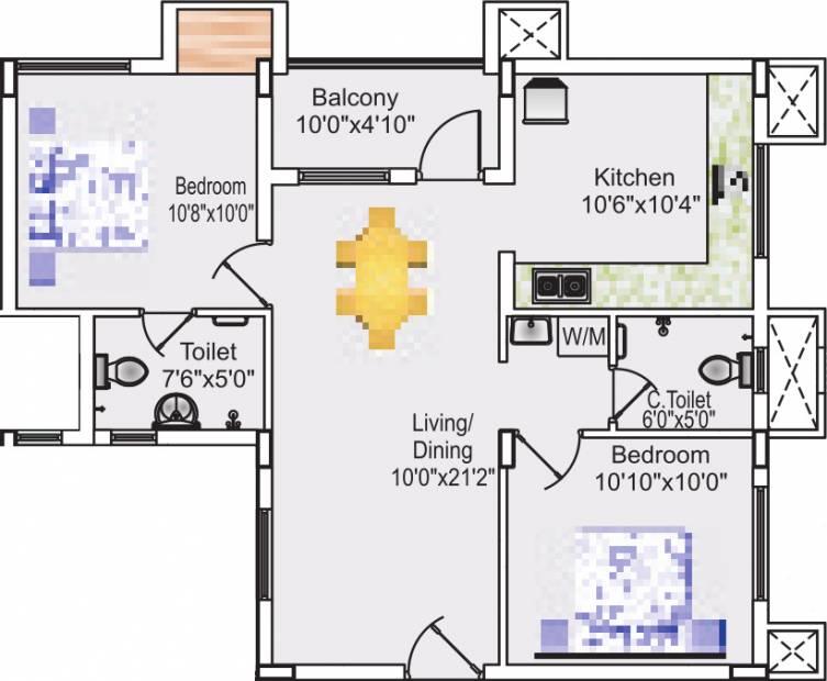 Sreevatsa Sankara Apartments 2 (2BHK+2T (937 sq ft) 937 sq ft)