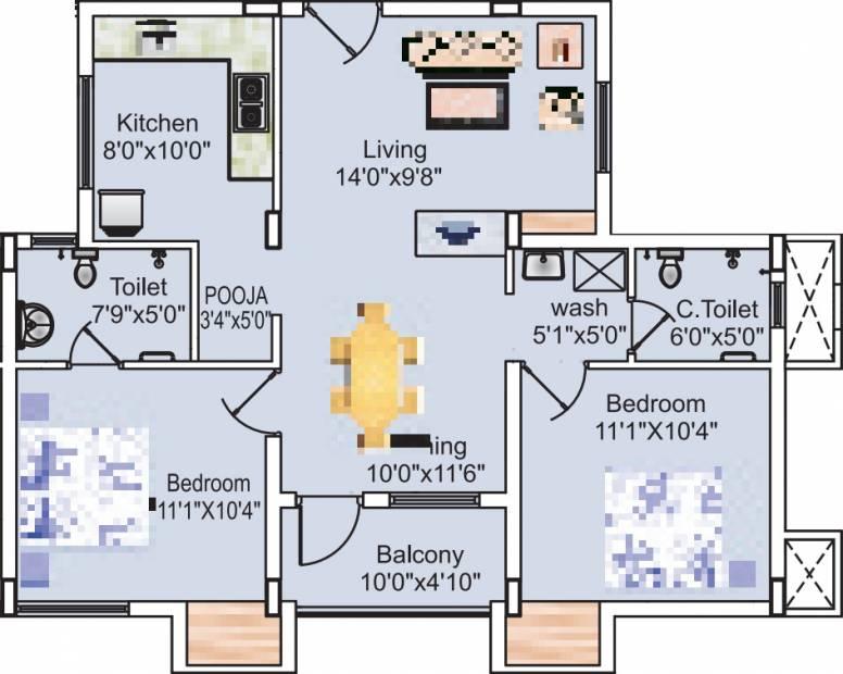 Sreevatsa Sankara Apartments 2 (2BHK+2T (1,014 sq ft) + Pooja Room 1014 sq ft)