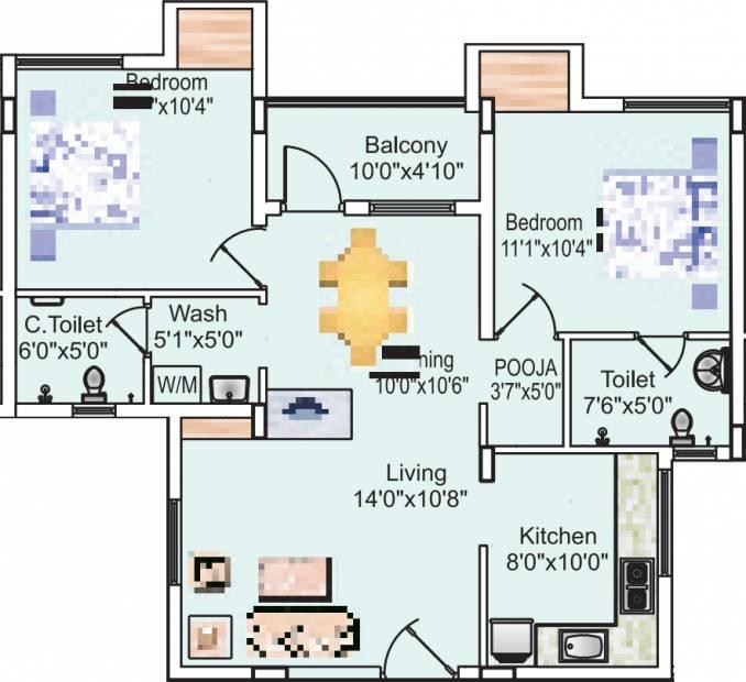 Sreevatsa Sankara Apartments 2 (2BHK+2T (1,022 sq ft) + Pooja Room 1022 sq ft)